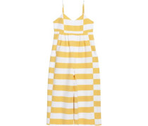 Pleated Striped Cotton-canvas Jumpsuit Yellow
