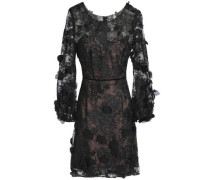 Floral-appliquéd Embroidered Tulle Mini Dress Black