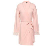 Lace-trimmed Cotton-blend Jersey Robe Pastel Pink