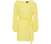 Woman Grace Velvet-trimmed Sequined Chiffon Mini Dress Yellow