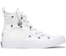 Appliquéd printed canvas sneakers