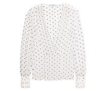 Cross-print blouse in silk-gauze