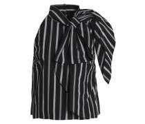 Sasha bow-embellished striped cotton-poplin blouse