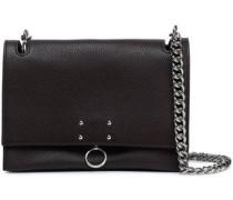 Embellished textured-leather shoulder bag