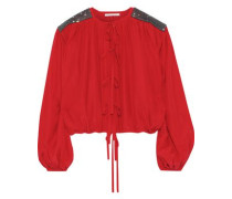 Woman Tie-front Crystal-embellished Crepe De Chine Blouse Red