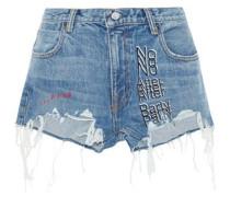 Embroidered Distressed Denim Shorts Mid Denim  7