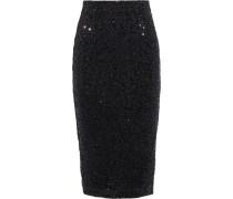 Woman Mica Sequined Metallic Crepe Pencil Skirt Black