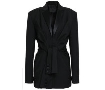 Satin-trimmed Wool And Mohair-blend Blazer Black