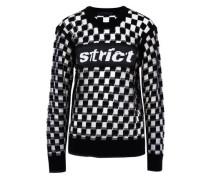 Intarsia Knit-paneled Burnout Wool-blend Top Black