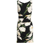 Ruched floral-print stretch-silk mini dress