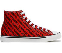 Embellished Printed Canvas High Top Sneakers Tomato Red