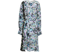 Kara Paneled Printed Crepe De Chine Midi Dress Sky Blue