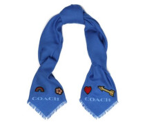 Appliquéd wool-twill scarf