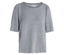 Gathered Mélange French Terry Top Light Gray