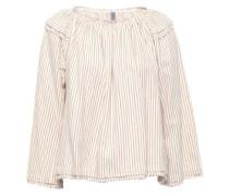 Frayed Striped Cotton-poplin Top Ivory Size 0