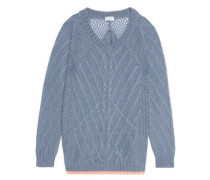 Mohair-blend cable-knit sweater