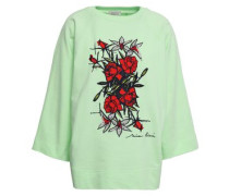 Embroidered French Cotton-terry Sweatshirt Light Green