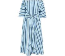 Off-the-shoulder Striped Stretch-cotton Midi Dress Sky Blue