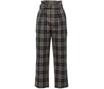 Checked Wool And Linen-blend Straight-leg Pants Dark Gray