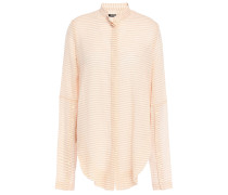 Woman Striped Cotton-gauze Shirt Peach