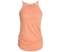 Ruched striped stretch-knit tank