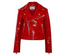 Chrystal Crinkled Patent-leather Biker Jacket Red