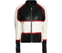 Whitaker embellished color-block leather jacket