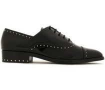 Elinor studded patent-leather brogues