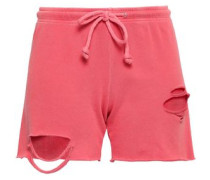 Distressed Cotton-jersey Shorts Coral