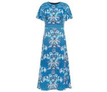 Floral-print Cloqué Midi Dress Blue