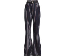 Striped high-rise bootcut jeans