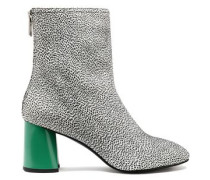 Drum printed leather ankle boots