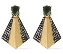 18-karat gold, chrome diopside and diamond earrings