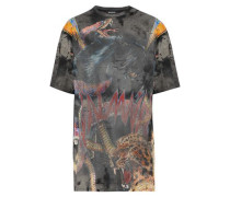 Distressed printed cotton-jersey T-shirt