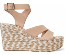 Arien Leather Espadrille Wedge Sandals Sand