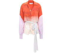 Oversized Degradé Silk Crepe De Chine Shirt Orange