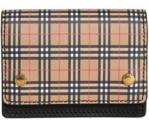 Checked Leather Cardholder Sand Size --