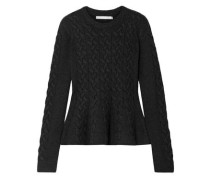 Cable-knit Wool-blend Peplum Sweater Charcoal