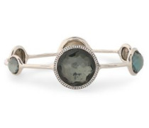 Sterling silver, pyrite, and diamond bangle