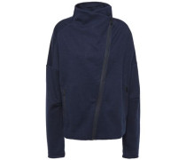 Woman Stretch Cotton-blend Jersey Turtleneck Track Jacket Navy