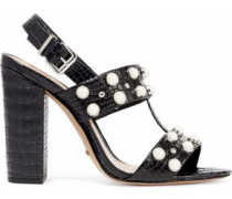 Zarita embellished croc-effect leather slingback sandals