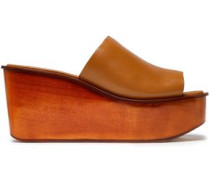 Leather Wedge Mules Camel