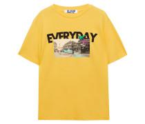 Woman Printed Cotton-jersey T-shirt Yellow