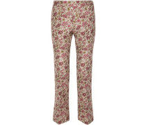 Floral-jacquard Straight-leg Pants Ivory