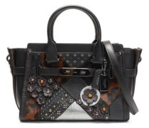 Embellished leopard-print calf hair, smooth and textured-leather shoulder bag