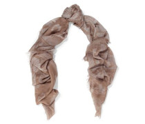 Printed cashmere and silk-blend gauze scarf