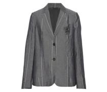Embellished striped wool and linen-blend blazer