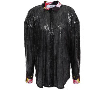 Satin-trimmed Sequined Tulle Blouse Black