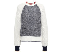 Marled Color-block Cotton Sweater Navy