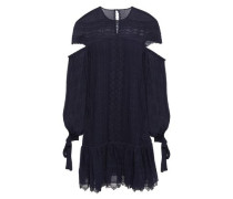 Cutout Embroidered Crinkled-silk Mini Dress Navy